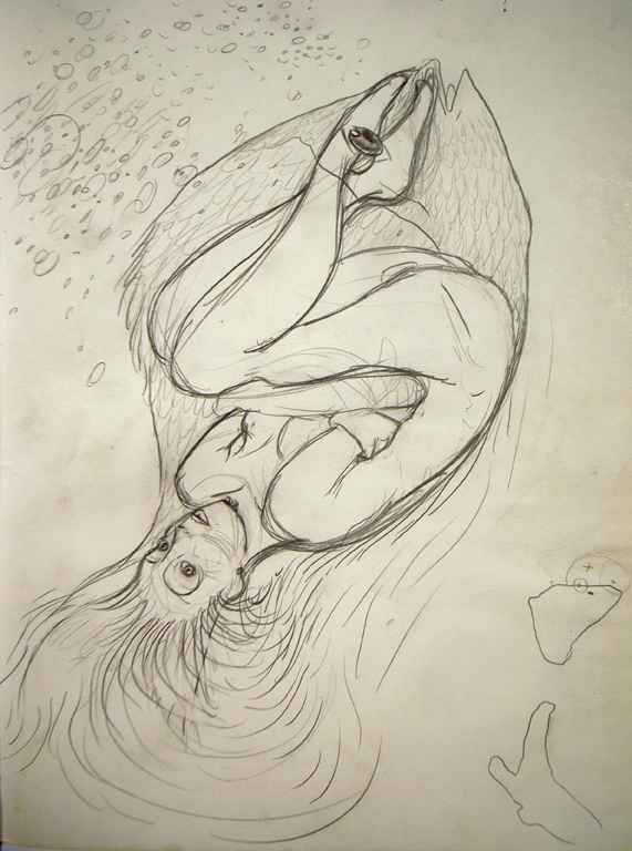 a woman in a fish' dream, a drawing