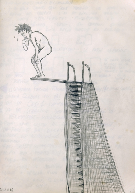 adrawing of a man on top of a springboard