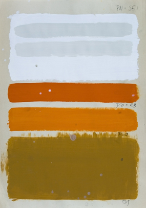 a painted color range in the shadows of white, oker, orange , yellow on a paper-white background